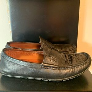 Gucci Black Monogram Drivers/Loafers